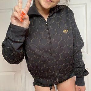 Adidas black & gold honeycomb jacket